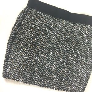 Forever 21 Silver Sequin Mini Skirt